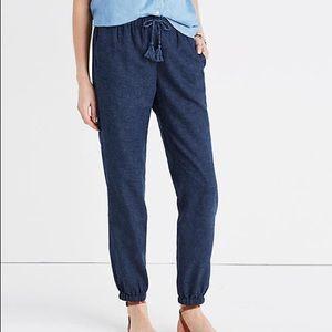 Madewell Shorewalk Blue Linen Beach Pants Size XS